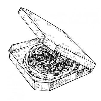 Эскиз открытая коробка для пиццы. рисованной пицца в картонной коробке. доставка старинные чернила иллюстрации
