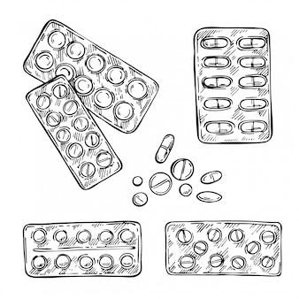 丸薬をスケッチします。ブリスターパックのカプセル、錠剤、錠剤。手描きの医療イラスト。