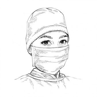 医療フェイスマスクとキャップを身に着けている医者をスケッチします。コロナウイルス保護。若い女性医師の手描きの肖像画。