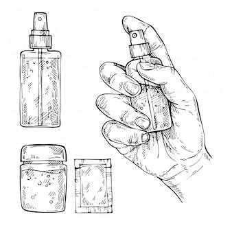 手描きの抗菌消毒スプレー、ジェル。細菌やウイルスを防ぐために消毒スプレーを使用して女性の手をスケッチします