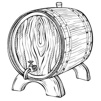 木製の樽をスケッチします。刻まれたスタイルで描かれたヴィンテージのイラストを手します。アルコール、ワイン、ビール、ウイスキー、古い木樽、樽。