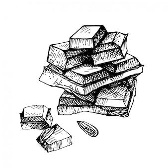 Рука нарисованные шоколад. рука нарисованные шоколадный батончик разбит на куски, аппетитный реалистичный рисунок.
