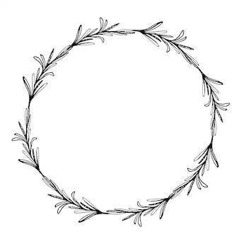ローズマリーと花輪をスケッチします。落書きフレーム。手描きの植物ボーダー