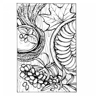 Эскиз векторные иллюстрации осени.