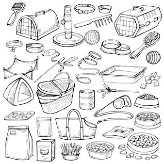 Ручной обращается каракули домашние вещи.