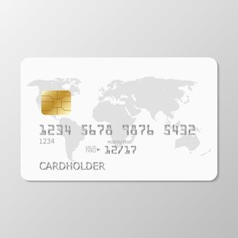 世界地図と現実的な白いクレジットカード。あなたのデザインのテンプレート白いクレジットカード。