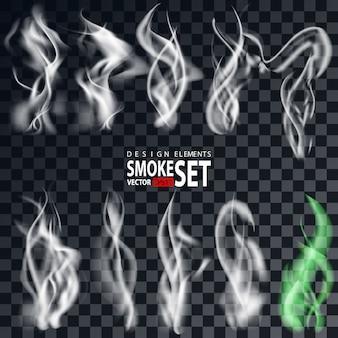 透明な背景に分離された煙。タバコ煙セット。孤立した現実的なタバコの煙の波。