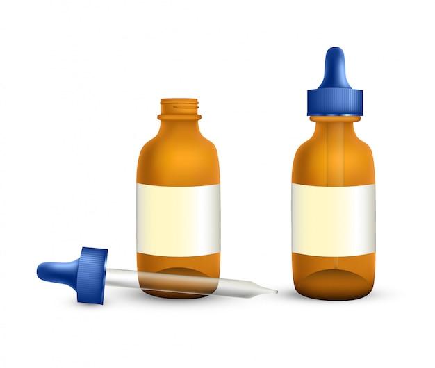 Реалистичные медицинские бутылки на белом фоне
