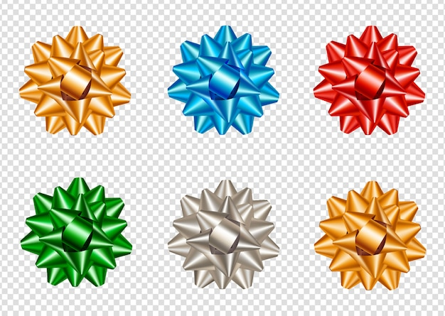 現実的でカラフルな星の弓のセット