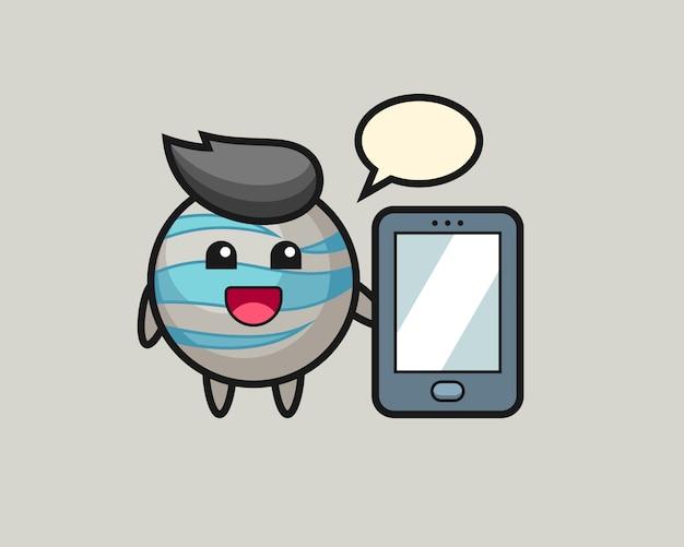 スマートフォンを持って惑星漫画