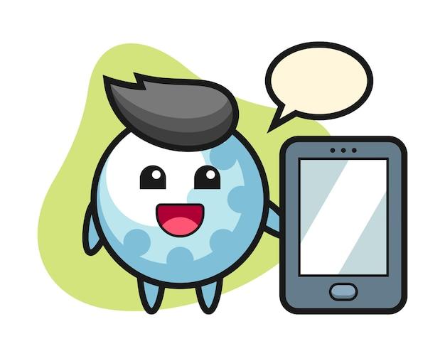スマートフォンを持っているゴルフボールの漫画のキャラクター