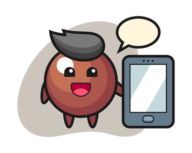 スマートフォンを保持しているチョコレートボール漫画