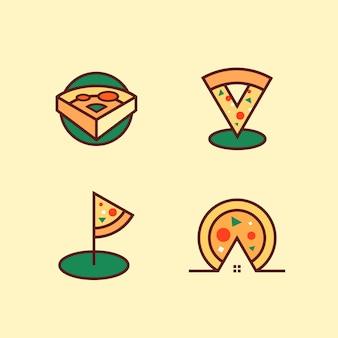 Пицца логотип набор векторных