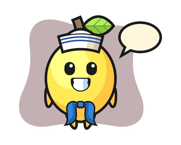 Персонаж талисмана лимона как моряк