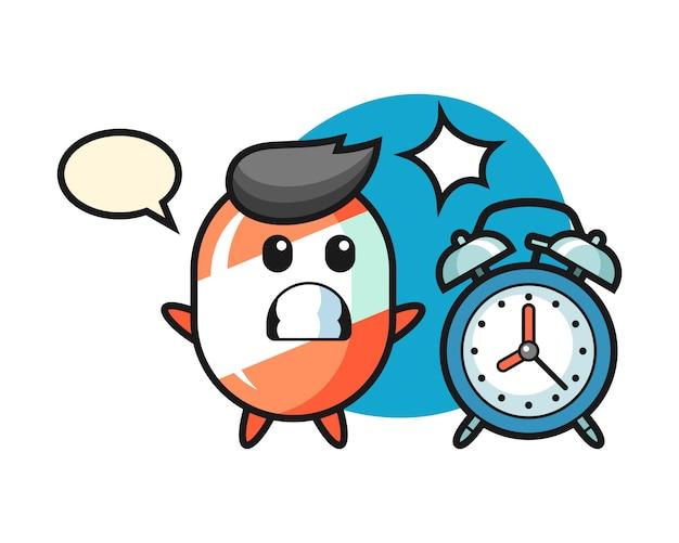 お菓子の漫画イラストが巨大な目覚まし時計に驚いている