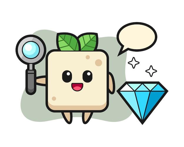 Иллюстрация характера тофу с бриллиантом, милый дизайн стиля для футболки