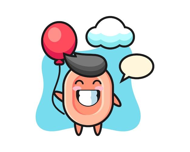 Иллюстрация талисмана мыла играет воздушный шар, милый стиль для футболки, стикер, элемент логотипа