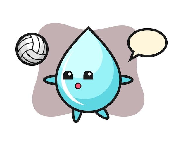 Персонаж мультфильма капли воды играет в волейбол, милый дизайн стиля для футболки