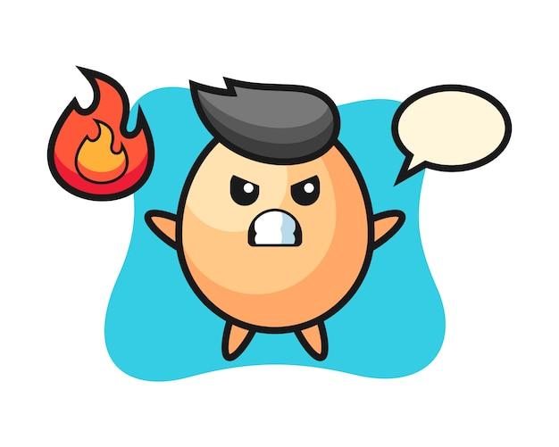 Яичный персонаж мультфильма с злым жестом, милый стиль для футболки, наклейки, логотип