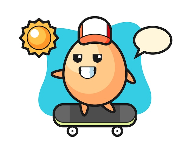 Яйцо персонаж иллюстрации кататься на скейтборде, милый стиль для футболки, наклейки, логотип
