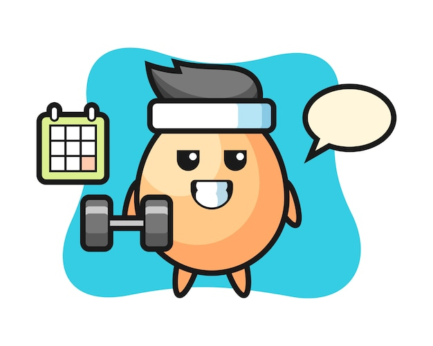 Яичный талисман мультфильм делает фитнес с гантелями, милый стиль для футболки, наклейки, логотип