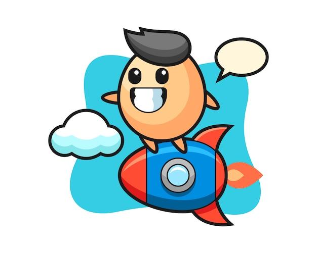 Яйцо талисман персонаж на ракете, милый стиль для футболки, наклейки, логотип