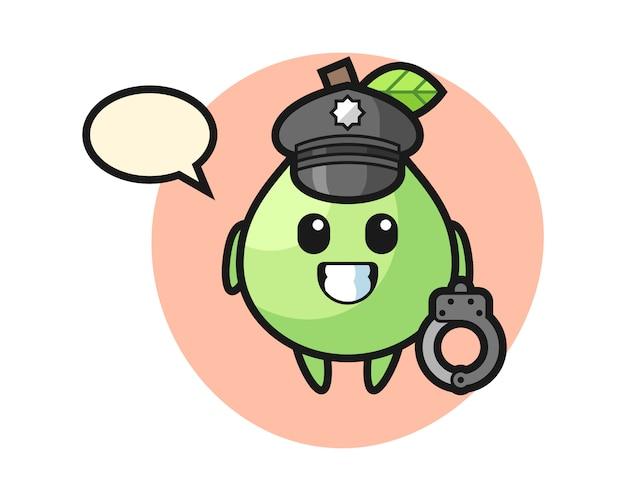 Мультяшный талисман гуавы как полицейский, милый стиль для футболки, стикер, логотип