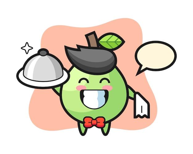 Характер талисмана гуавы в качестве официантов, милый дизайн стиля для футболки, наклейки, элемент логотипа