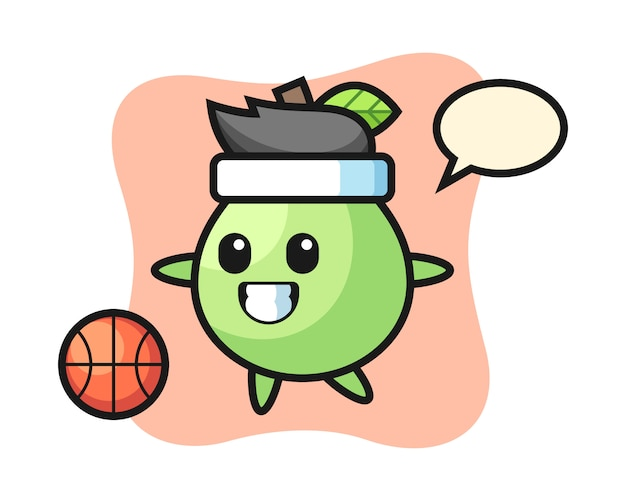 Иллюстрация гуавы мультфильм играет в баскетбол, милый дизайн стиля для футболки, стикер, элемент логотипа
