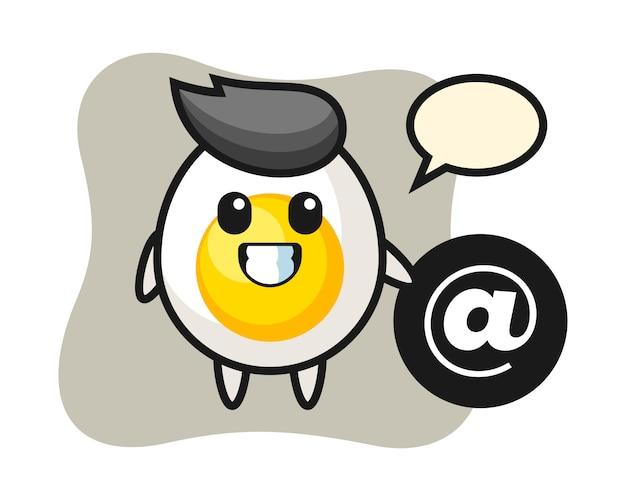 アットシンボルの横に立っているゆで卵の漫画イラスト