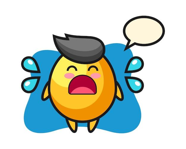 泣いているジェスチャー、かわいいスタイルのデザインと黄金の卵漫画イラスト