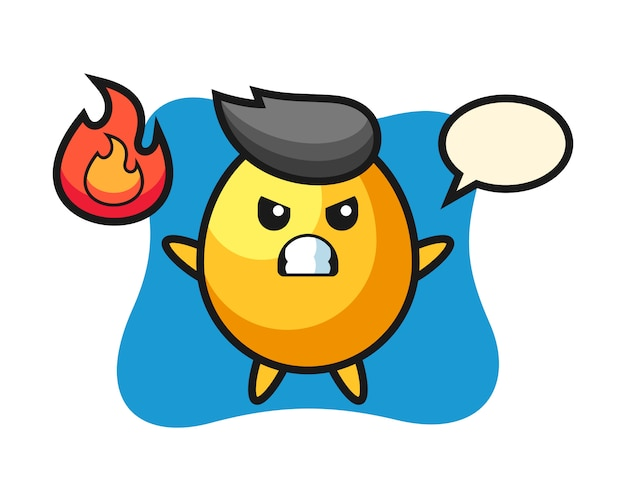 怒っているジェスチャー、かわいいスタイルのデザインと黄金の卵キャラクター漫画