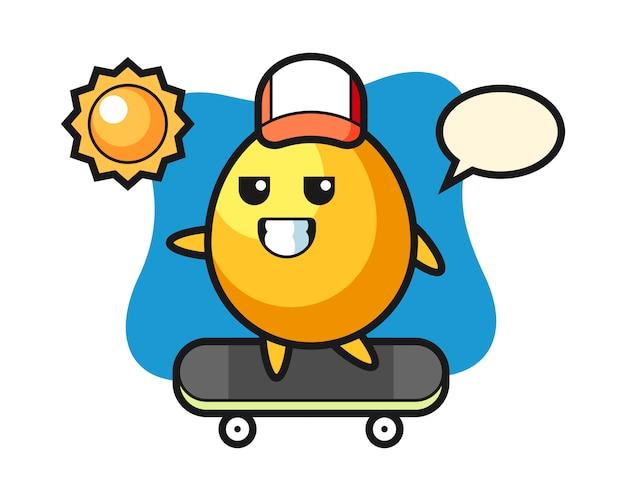 黄金の卵キャライラストがスケートボード、かわいいスタイルのデザインに乗る