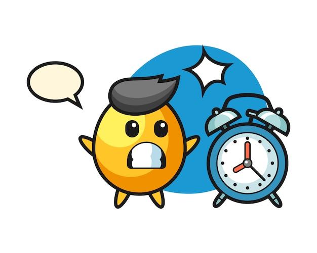 黄金の卵の漫画イラストは巨大な目覚まし時計、かわいいスタイルのデザインに驚いています