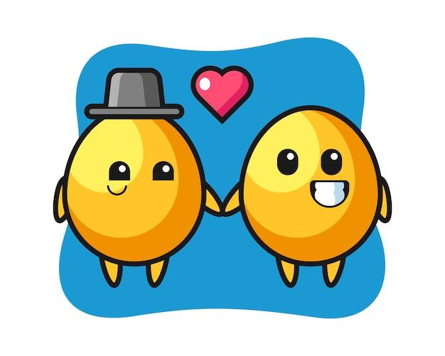 恋に落ちるジェスチャー、かわいいスタイルのデザインと黄金の卵の漫画のキャラクターのカップル