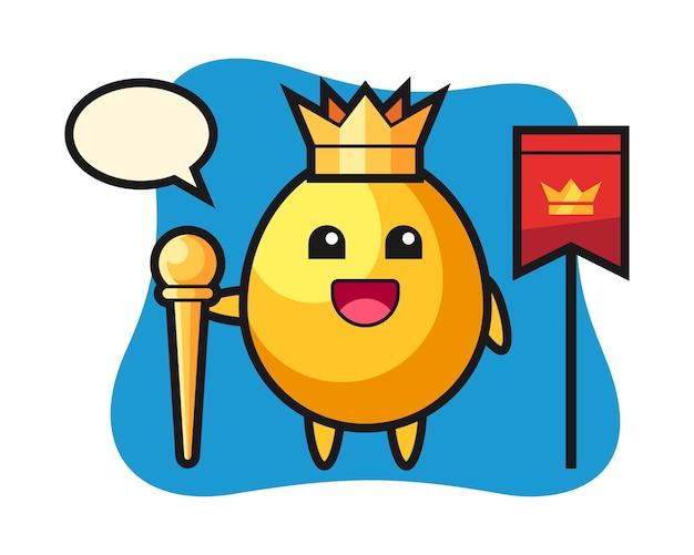 Талисман мультфильм золотое яйцо как король, милый дизайн стиля