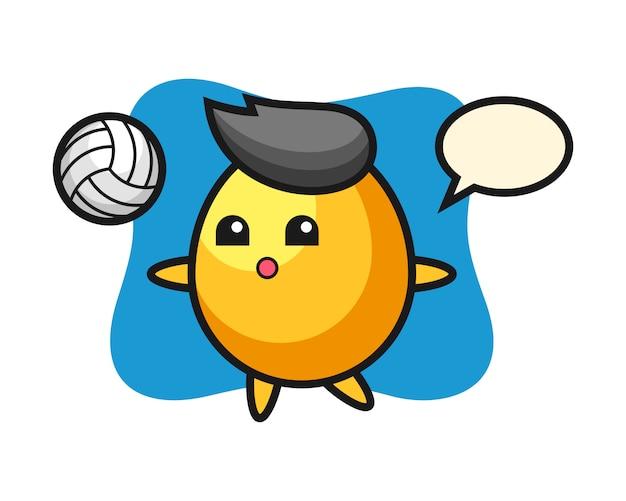 Персонаж мультфильма золотое яйцо играет в волейбол, милый стиль дизайна