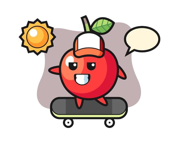 桜のキャラクターイラストがスケートボードに乗る、キュートなスタイルデザイン
