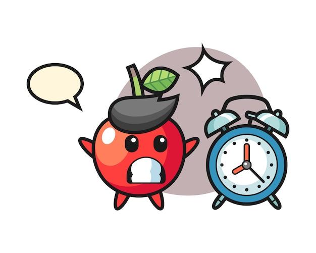 桜の漫画イラストが巨大な目覚まし時計、かわいいスタイルのデザインに驚いている