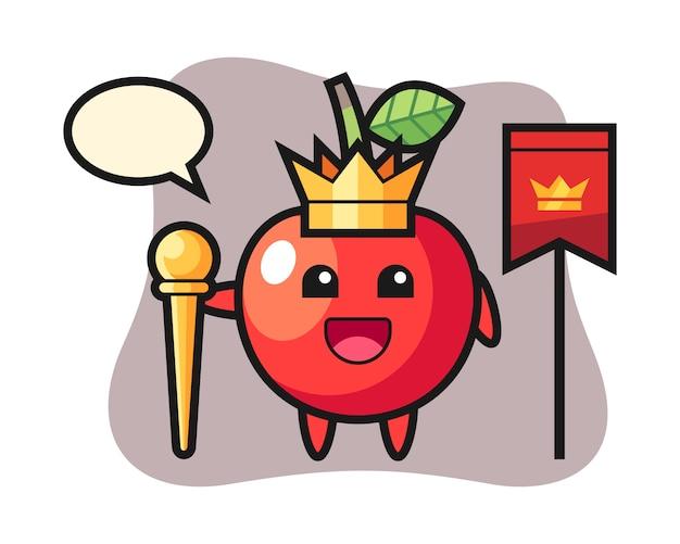 Талисман мультфильм вишни как король, милый дизайн стиля