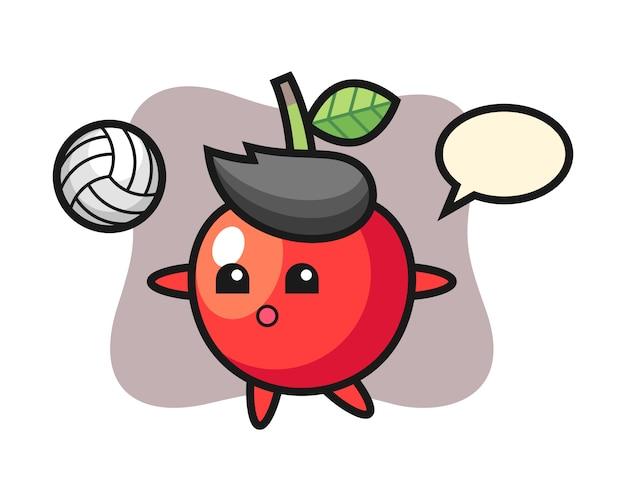 Персонаж мультфильма из вишни играет в волейбол, милый дизайн стиля