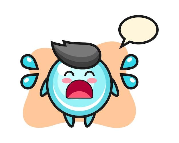 泣いているジェスチャー、かわいいスタイルのデザインのバブル漫画イラスト