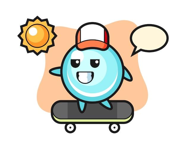 バブルキャライラストがスケートボードに乗って、キュートなスタイルデザイン
