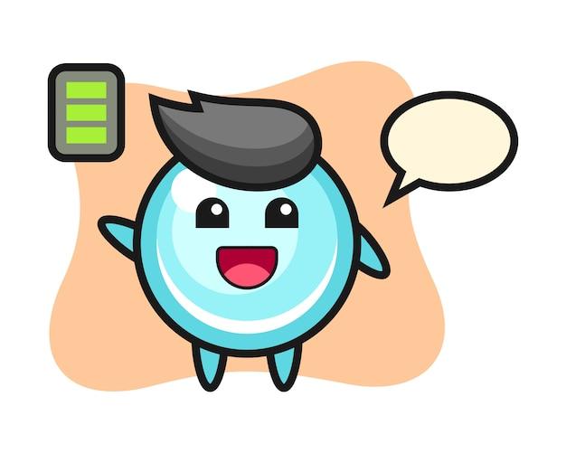 エネルギッシュなジェスチャー、かわいいスタイルのデザインのバブルマスコットキャラクター