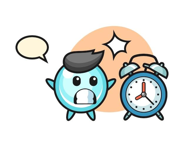 バブルの漫画イラストは巨大な目覚まし時計、かわいいスタイルのデザインに驚いています