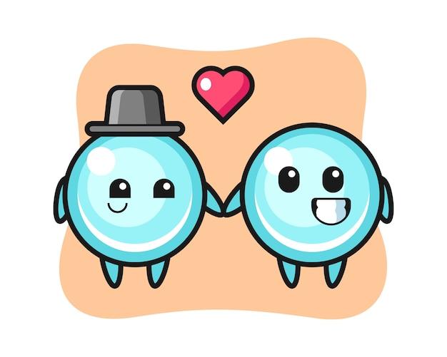 恋に落ちるジェスチャー、かわいいスタイルのデザインのバブル漫画キャラクターカップル