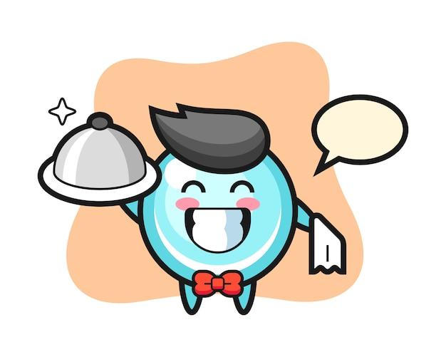 ウェイターとしてのバブルのキャラクターマスコット、キュートなスタイルデザイン