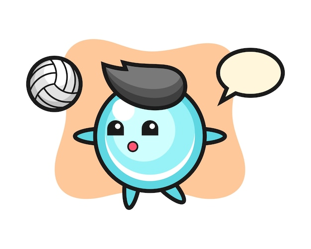 Персонаж мультфильма из пузыря играет в волейбол, милый дизайн стиля