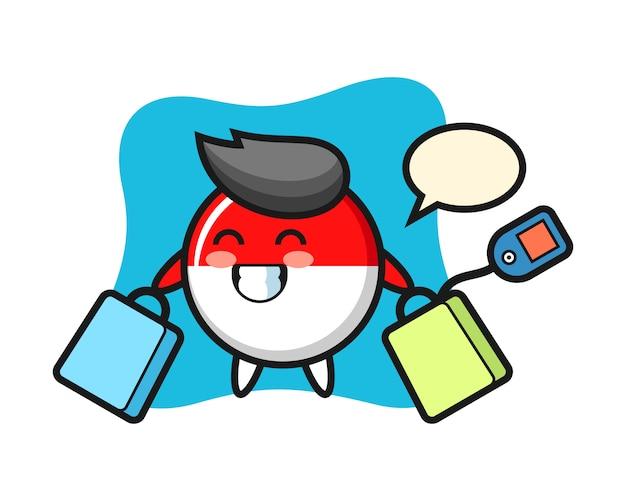 買い物袋を保持しているインドネシアの旗バッジマスコット漫画