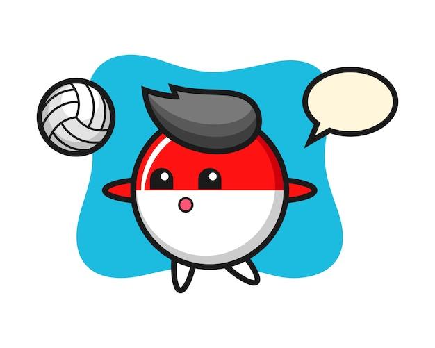 Персонаж мультфильма из флага индонезии играет в волейбол